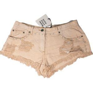 Somedays Lovin Pink Distressed Jean Denim Shorts